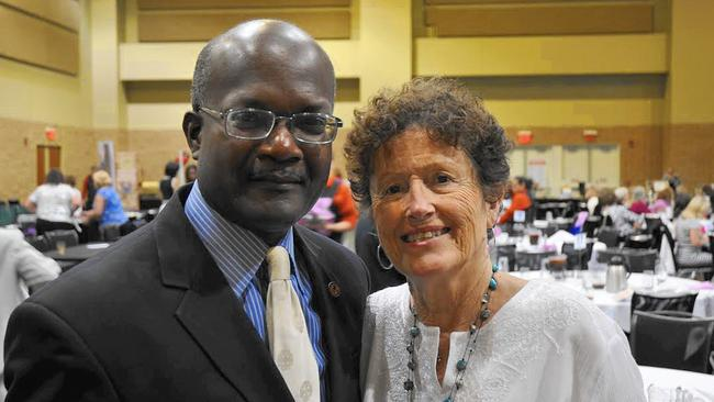 State Rep. Al Riley, D-Olympia Fields, visits with Peg Donahue, last year's recipient of the Abby Foundation's Woman of the Year award, at the foundation's 30th anniversary luncheon Friday at the Tinley Park Convention Center. (Photo Credit - Angela Denk - Southtown Star)